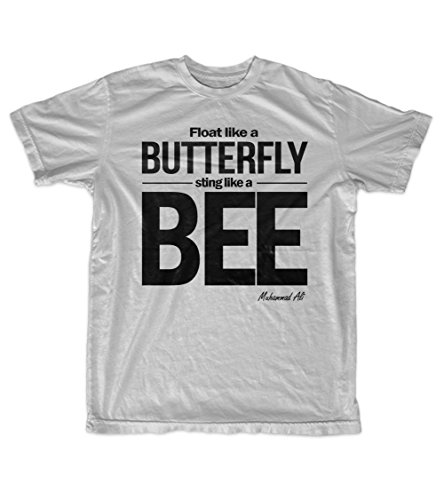Fly Like A Butterfly Sting Like A Bee Muhammad Ali Quote Men's T-Shirt Grey XX-Large