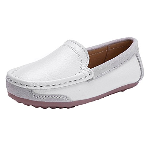 Hoxekle Kids Casual Loafers Peas Shoes Rubber Leather Boys Girls Slip On Flat Dress Oxfords Shoe White 11 M US Little Kid