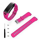 (US) RTYou(TM) Silicone Band Strap Bracelet + Tool For Garmin Vivosmart HR (Hot pink)