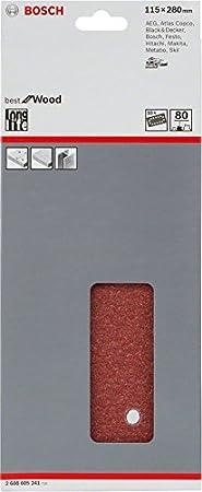 Bosch 2608605245 10 Feuilles abrasives pour ponceuses vibrantes 115 x 280 mm 14 trous Grain 400
