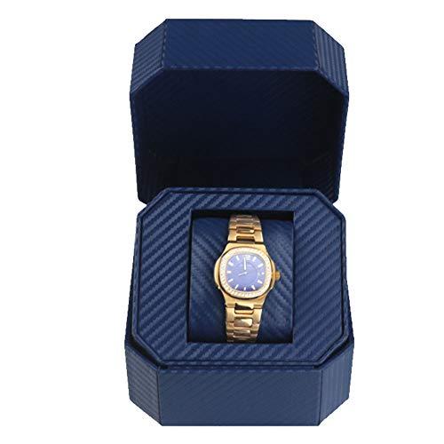 Watch Storage Box Pu Leather Wooden Watch Box Jewelry Box Octagonal Flip Single Watch Watch Box, Three Colors Optional,Blue