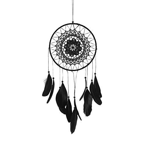 "Soledi Dream Catcher Wall Hanging Ornament India Style Car Handmade Dream Catcher Circular Net Decoration Decor Ornament Craft Gift 7.9"" Diameter 18.9"" Long - Black"