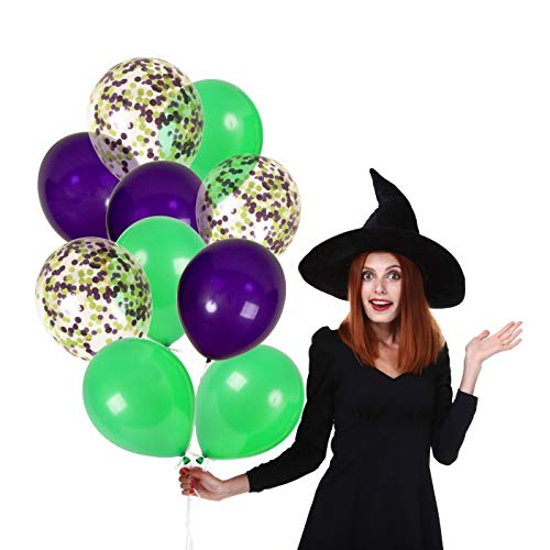 Treasures Gifted 12 Inch Halloween Balloons Purple and Green Confetti Decor with Solid Latex Decorations Kit for Scary Haunted House Spooky Maze ()