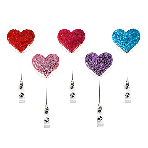 YOUKOOD Colorful Bling Fashion Heart-Shaped Retractable Badge Holder for Women Girls, ID Badge Reel with 360°Alligator Swivel Clip 5 Pack (Heart-Shaped)