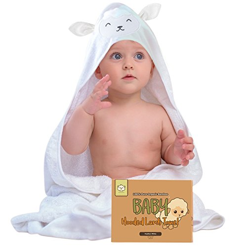 Lamb Organic Cotton - Baby Hooded Towel - Organic Bamboo Baby Bath Towels with Hood for Boys, Girls, Babies, Newborn Boys, Toddler (Lamb)