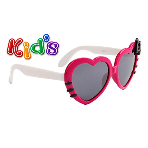 Kid Sized Heart Shaped Sunglasses W/ Colored Bow Many Colors Girls Baby (Hot Pink w/ White Temples)