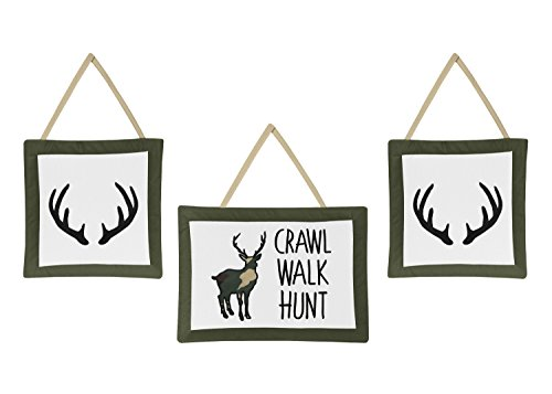Sweet Jojo Designs Green and Beige Rustic Deer Wall Hanging Decor for Woodland Camo Collection - Set of 3