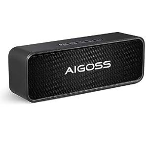 Aigoss Enceinte Bluetooth Portable, Haut-Parleur Bluetooth 5.0 Enceinte Portable Pilote Double Subwoofer Son HD Stéréo Mains Libres, Radio FM Fonction TF Carte Noir 3