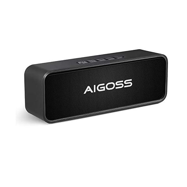 Aigoss Enceinte Bluetooth Portable, Haut-Parleur Bluetooth 5.0 Enceinte Portable Pilote Double Subwoofer Son HD Stéréo Mains Libres, Radio FM Fonction TF Carte Noir 1