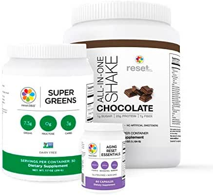 Reset360 Younger Kit Including Super Greens Superfood Diet Protein Powder, Aging Rest Essentials, Chocolate Protein Powder All-in-One Meal Replacement Shake