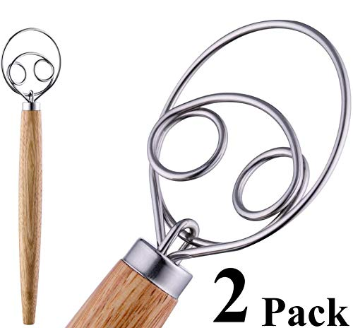 HauBee 2 Pack Kitchen Danish Dough Whisk Stainless Steel Sourdough Flour Bread Baking Cooking Tools Dutch Style Hand Mixer Blender Utensils Wisk Hook Pastry