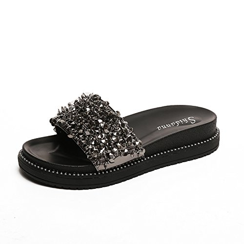 Zapatillas B Simples Playa Femeninos Plano Sandalias ITTXTTI de Moda Estudiante Exterior de Nueva Femenino de Zapatos Desgaste Antideslizante Verano UadxSR