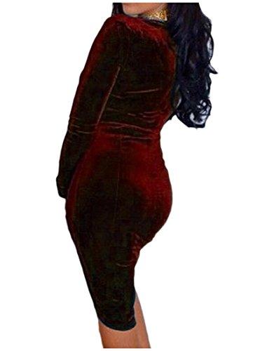 Lunga Manica Collo Rosso Vino Dal Randello Delle Di Sexy Donne Velluto v Vestito Oro Comodi Profondo xBwq80UU