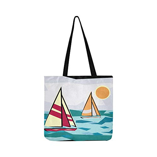 Holiday Sailboat Sunset Boating Sailing Vacation Canvas Tote Handbag Shoulder Bag Crossbody Bags Purses For Men And Women Shopping Tote (Saint Laurent Monogram Leather Cross Body Bag)