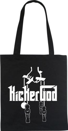 KICKERGOD Kicker Kickertisch Designer Fun Beutel tote bag Baumwolltasche WIZUALS, schwarzweiss