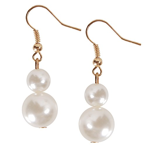 Artificial Pearls Earrings (Gold) - 3
