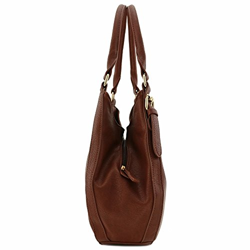 Light-weight 3 Compartment Faux Leather Medium Hobo Bag (Coffee) by FashionPuzzle (Image #2)