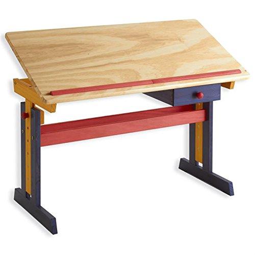 IDIMEX Bureau enfant écolier junior FLEXI table à dessin réglable en hauteur et pupitre inclinable avec 1 tiroir en pin massif lasuré multicolore