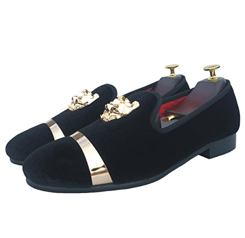 Slip Red with Men's Wedding on White Blue Dress Gold Black Buckle Velvet Loafers Flats Justyourstyle Shoes Smoking Slippers Black avAxFRFq
