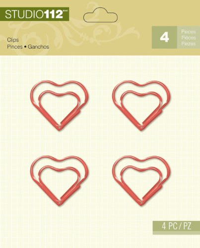 K&Company Studio 112 Clips for Scrapbooking, Red Heart Paper Clips Scrapbooking