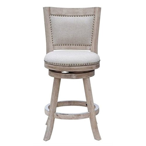 """Bowery Hill 24"""" Swivel Counter Stool in Creme Wash"""
