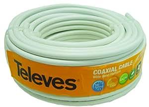 Televes 435501 - Rollo de cable coaxial (20 metros) color blanco