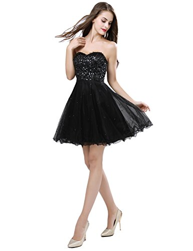 Short Sleeve Gowns Dresses House with Homecoming Sd032 black Junior's Prom Tulle Belle x1T0Cw1