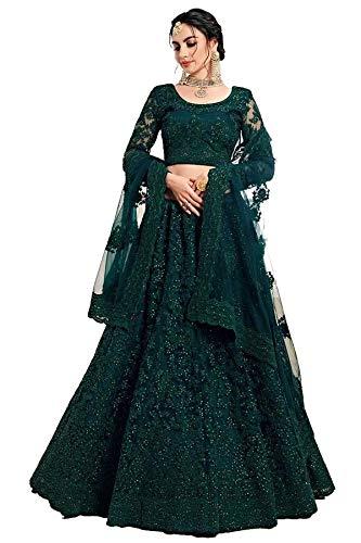 Bollyclues Women's Net Embroidered Semi-Stitched Lehenga Choli(Green-Rani_Green_Free Size)