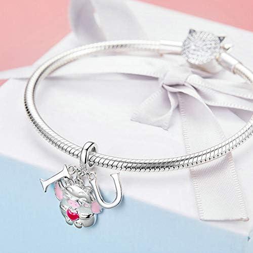 The Kiss I Love Pink Flying Piggy Pig Animal Dangle 925 Sterling Silver Bead Fits European Charm Bracelet