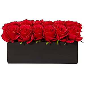Nearly Natural Dozen Silk Roses in Rectangular Planter Red 95