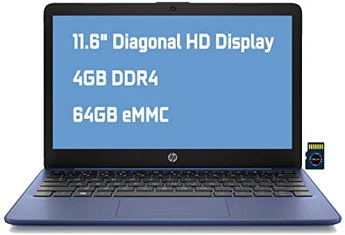 "HP Stream 11 Premium Laptop Computer I 11.6"" Diagonal HD Anti-Glare Display I Intel Celeron N4020 I 4GB DDR4 64GB eMMC I USB-C HDMI Wifi5 Bluetooth Webcam Win 10 (Blue) + Delca 32GB MicroSD Card"