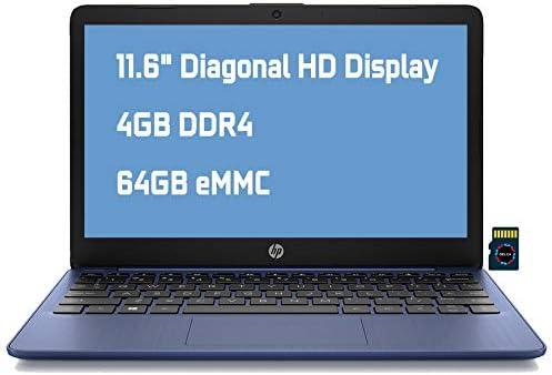 """HP Stream 11 Premium Laptop Computer I 11.6"""" Diagonal HD Anti-Glare Display I Intel Celeron N4020 I 4GB DDR4 64GB eMMC I USB-C HDMI Wifi5 Bluetooth Webcam Win 10 (Blue) + Delca 32GB MicroSD Card"""