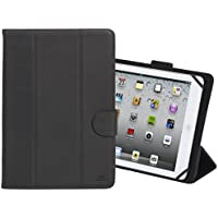 Rivacase 3137 Universal 10 Inch Tablet Cover Case With Camera Access, Smart, Protective, Black Vegan Leather