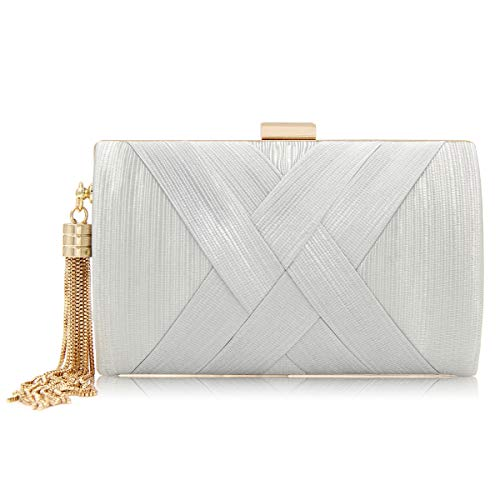 (GRAFZEAL Women Tassel Pendant Silk Evening Clutch Bag Envelope purse Handbag Line Design Elegant for Wedding and Party WHB005)