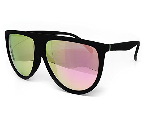 O2 Eyewear 7166 Premium Soft Oversize Mirror Revo Designer Flat Top Womens Mens Sunglasses (Oversize, MATTE/ROSE - Biggest Sunglasses Oversized