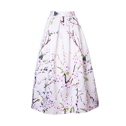 Mena UK Mujeres Rodilla-Longitud 50s Vintage floral imprimió faldas de tutú para la falda de swing grande ( Color : Plum- White , Tamaño : One Size ) Plum- White