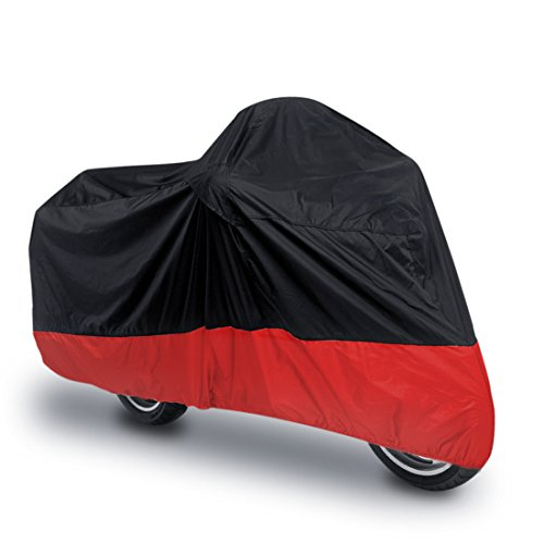 uxcell L 180T Rain Dust Motorcycle Cover Black Red Outdoor UV Waterproof 86 inches for Honda Victory Kawasaki Yamaha Suzuki Harley Davidson (Used Kawasaki Ninja 250r For Sale Cheap)