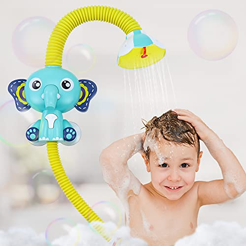 Fajiabao Elephant Bath Toys for Toddlers, Bathtub Game, Infant Electric Shower Head, with Sucker Baby Accessories, Water…