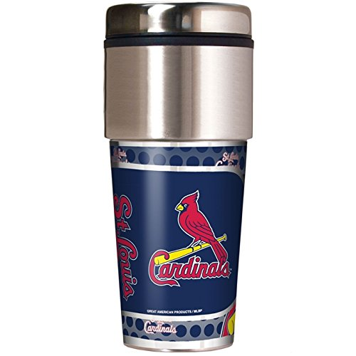 St. Louis Cardinals 16 oz Travel Tumbler with Metallic (Louis Cardinals Mlb Tumbler)