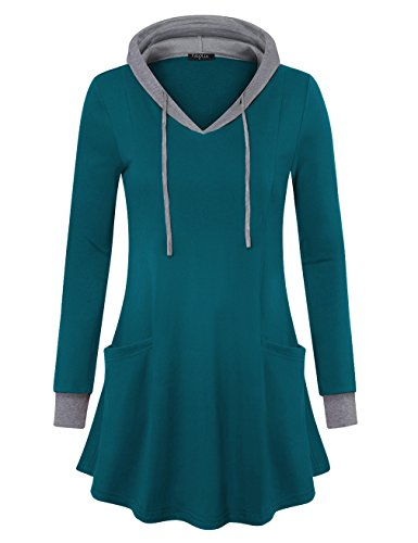 Sweatshirt Dress,VALOLIA Women's Hooded Pullover Slouch Tunics Dark Cyan Medium