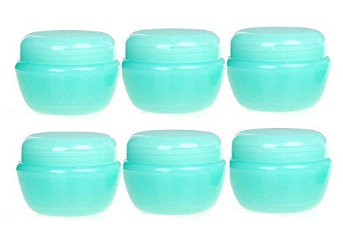 - 10G/10ML Empty Refillable Travel Cosmetic Sample Containers Jars Pot with Inner Liner for Make Up Eye Shadow Powder Lip Balm Lotions and Nail Accessories Pack of 12 (Green)