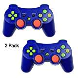 PS3 Controller XFUNY 2 Pack Wireless Bluetooth 6-Axis Controllers Dualshock 3 Gamepad for PlayStation 3 with Charging Cable (Blue)
