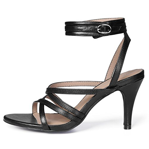 Heels Women Ankle Cross Black Front Allegra K Strap qwY75Zn