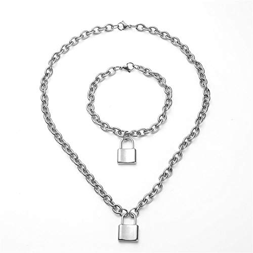WangGao Punk Style Lock Charms Jewelry Set Lockstitch Stainless Steel Link Chain Necklace & Bracelet for Women with Clasp Closure,Silver
