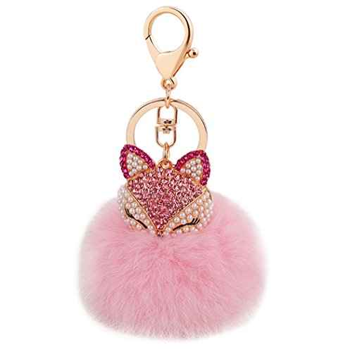 Big Ball Chain (Cute Fox Diamond Keychain Soft Big Fluffy Ball Keyring Bag Decoration Creative Gift for Girls and Women(pink))