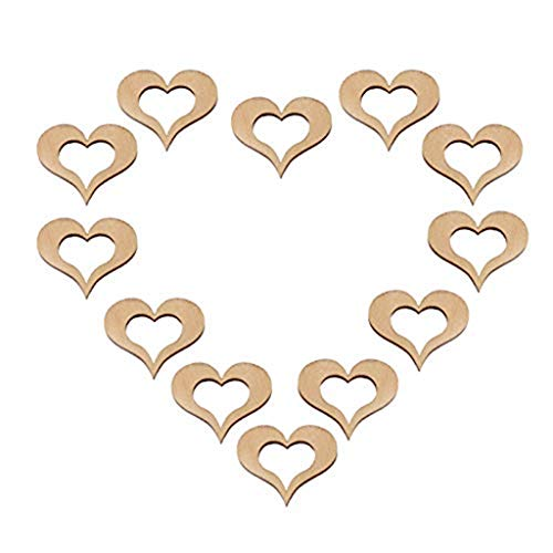 Clearance Sale!DEESEE(TM)50pcsWedding Table Decorations Hollow Rustic/Vintage Wooden Hearts Love Confett ()