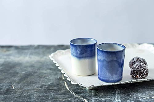 Blue and White Glazed Handmade Natural Clay Ceramic Espresso Cup Set Of 2, Modern Design, Dishwasher Safe, Artisan Pottery Wedding Gift Idea, 2.46 Oz