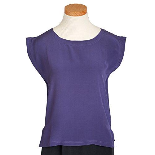 Indigo Purple Classic Silk Shell by ROYAL SILK - Size S - 100% Silk Crepe