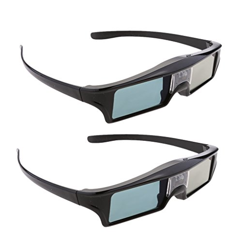 Jili Online 2 Pieces DLP Link 3D Glasses, Ultra-Clear HD 144 Hz 3D Active Rechargeable & lightweight Shutter Glasses for All 3D DLP Projectors-BenQ, Optoma, Dell, Mitsubishi etc