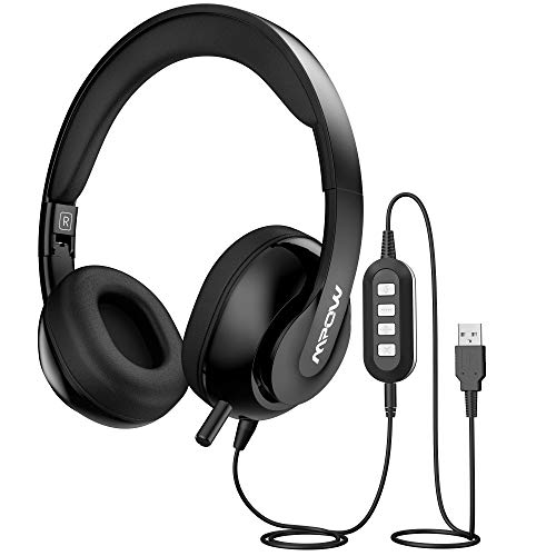 Mpow 3.5mm/USB Headsets, Foldable Computer Headset with Mute Function, PC Headphones with Retractable Microphone Noise Canceling, All Day Comfort for Meetings/Call Center/School (Usb Headset 2000)